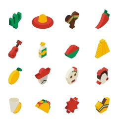 Mexican Icons Isometric vector image