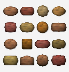 Wooden signs wood isolated brown boards vector image