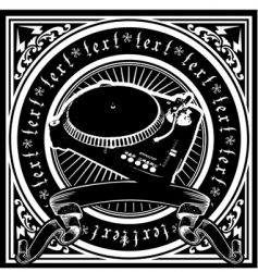 black and white Dj player vector image