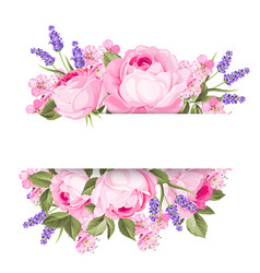 blooming spring flowers garland vector image