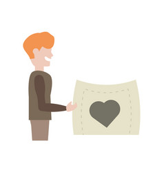 Boy holding paper card with heart vector
