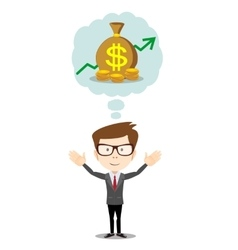Businessman dreaming about money vector image