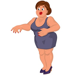 Cartoon young fat woman in gray dress disgusted vector image vector image
