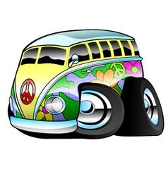 Colorful hippie surfer bus vector