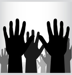 crowd of black hands background vector image