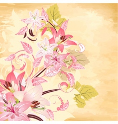 flowers on papyrus background vector image vector image