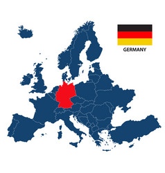 map of europe with highlighted germany vector image vector image