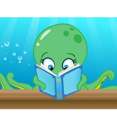octopus reading book vector image vector image