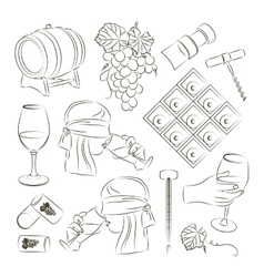 Tasting wine icons vector image
