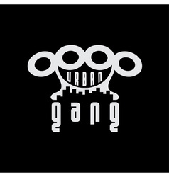 urban gang emblem with brass knuckles vector image