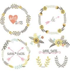 Vintage Wedding Wreath Laurel Elements vector image vector image