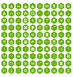 100 archeology icons hexagon green vector