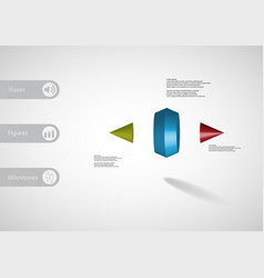 3d infographic template with two spiked cone vector image