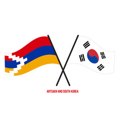 Artsakh and south korea flags crossed and waving vector