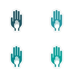 Assembly realistic sticker design on paper hands vector