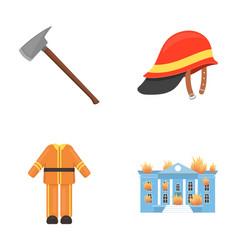 Ax helmet uniform burning building fire vector
