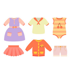 baby clothes poster and set vector image