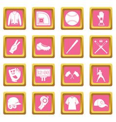 Baseball icons pink vector