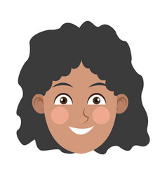 Beauty face girl cartoon female avatar vector