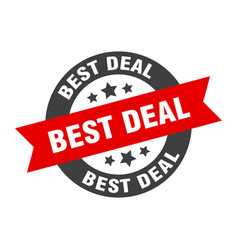 best deal sign round ribbon sticker isolated tag vector image