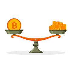 bitcoin and money on balanced scale business vector image