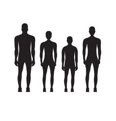 black silhouettes of people in sportswear vector image