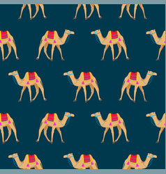 Camel cartoon seamless pattern on blue vector