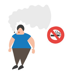 cartoon man smoking cigarette beside no smoking vector image