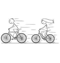 Cartoon of man and woman or girl and boy riding vector