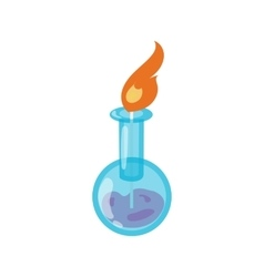 Chemical flask with flame icon cartoon style vector image