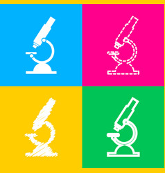 chemistry microscope sign for laboratory four vector image