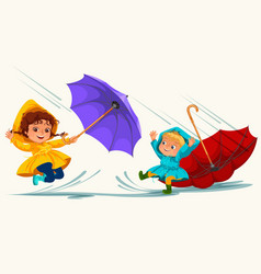 children walking under raining sky with an vector image
