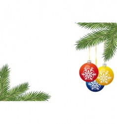 christmas tree branch and toys vector image vector image