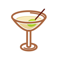 classic cocktail with olive vector image vector image