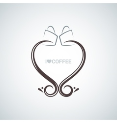 Coffee cup love concept background vector