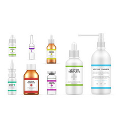 Collection realistic medical bottles template vector