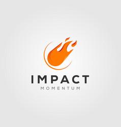 Comet impact meteor logo icon design vector