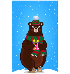 cute cartoon bear in knitted hat with present in vector image