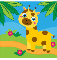cute giraffe in african forest for vector image
