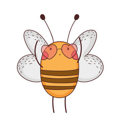 Cute little bee with heart sunglasses vector