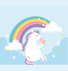 cute magical unicorn eating sweet cupcake vector image