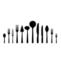 cutlery tableware icons vector image