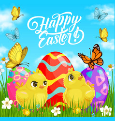 Easter eggs and chicks with green grass flowers vector