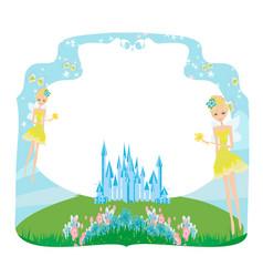 fairytale frame with little fairies vector image
