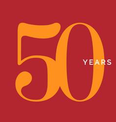fifty years symbol fiftieth birthday emblem vector image