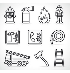 Fire security icons set vector