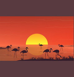 flamingo silhouette at sunset landscape on lake vector image