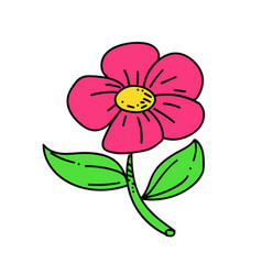 flower cartoon hand drawn image vector image