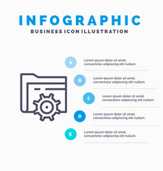 folder setting gear computing blue infographics vector image