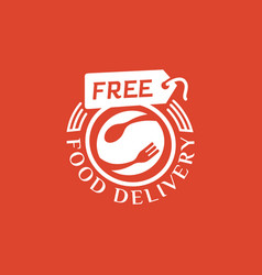 Free food delivery on red background vector